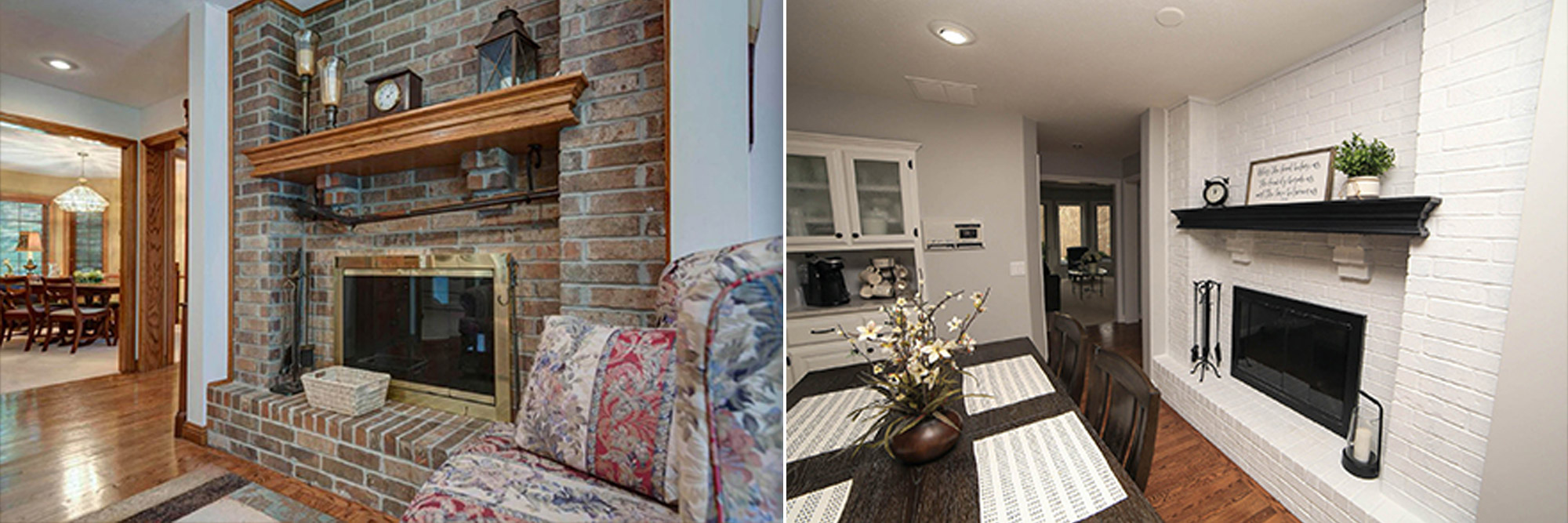 Brick Fireplace - Before & After