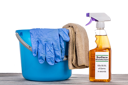 Surface disinfectant spray with pail, gloves and cloth. Complete sanitizing maintenance set against virus and bacteria